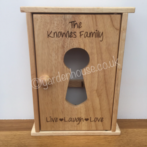 Engraved Personalised Wooden Key Cabinet, with your own details...